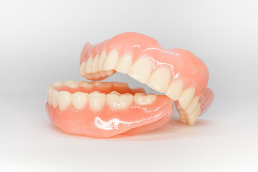 a set of dentures on isolated background